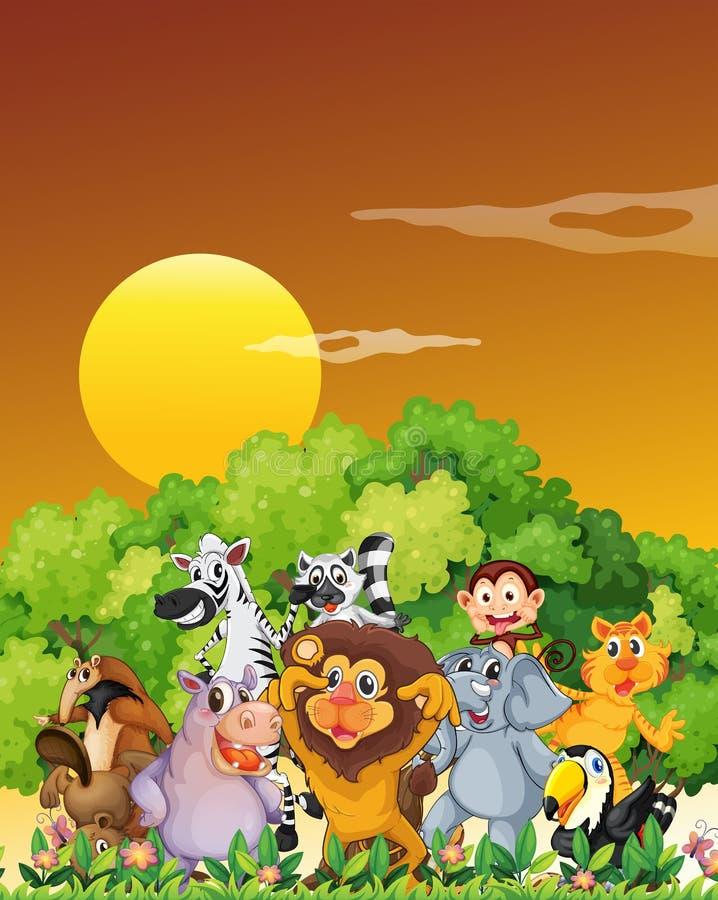 Een groep dieren bij het bos stock illustratie