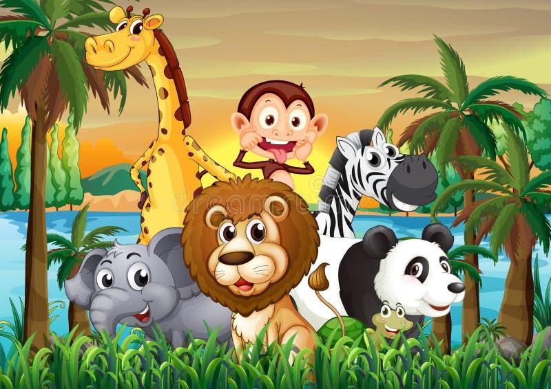 Een groep dieren bij riverbank met kokospalmen royalty-vrije illustratie