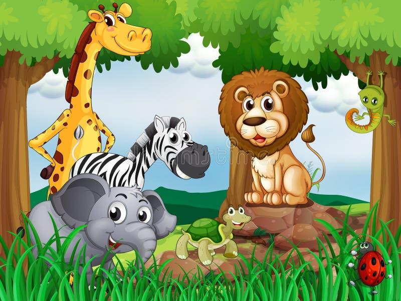 Een groep dieren in het midden van het bos vector illustratie