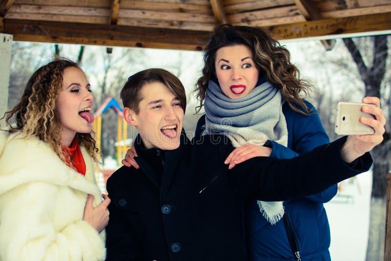 Een groep friends do selfie in de winter in een opheldering royalty-vrije stock foto