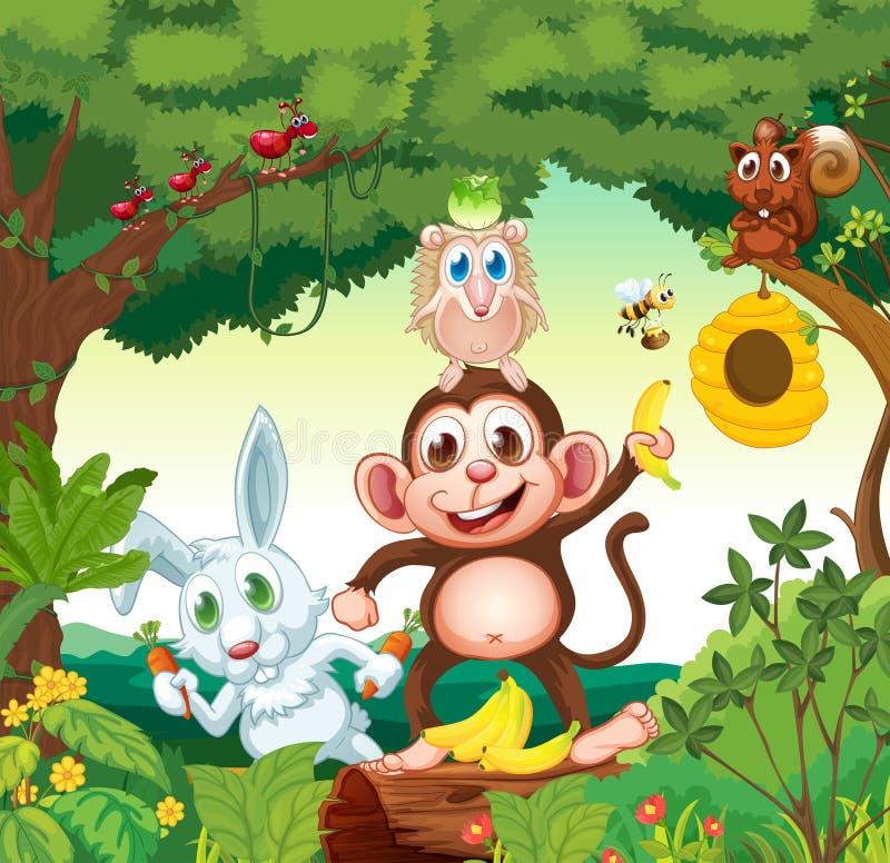 Een groep gelukkige dieren bij het bos stock illustratie