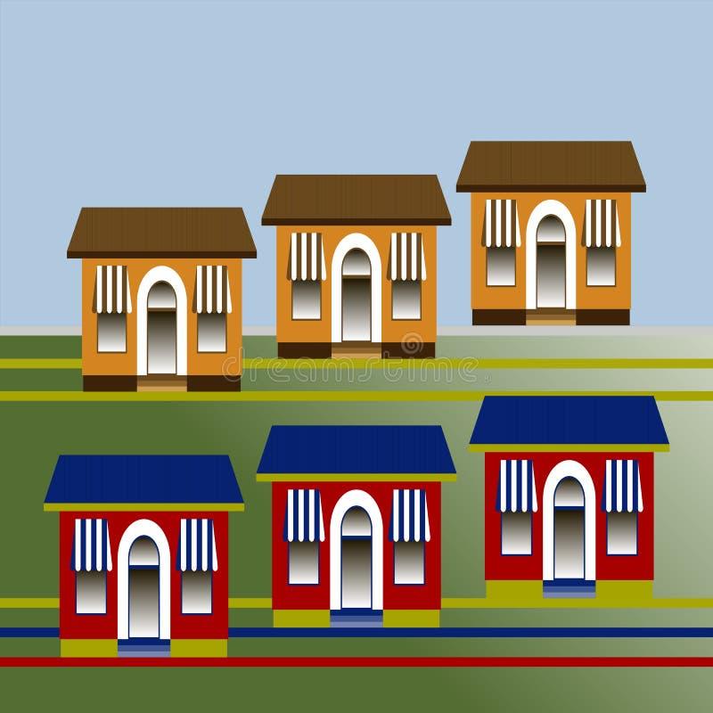 Een groep gestileerde losgemaakte ééngezinshuizen Vector vlak ontwerp stock illustratie