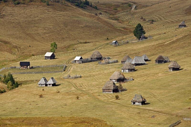 Een groep houten traditionele huizen in de Apuseni-Bergen stock afbeeldingen