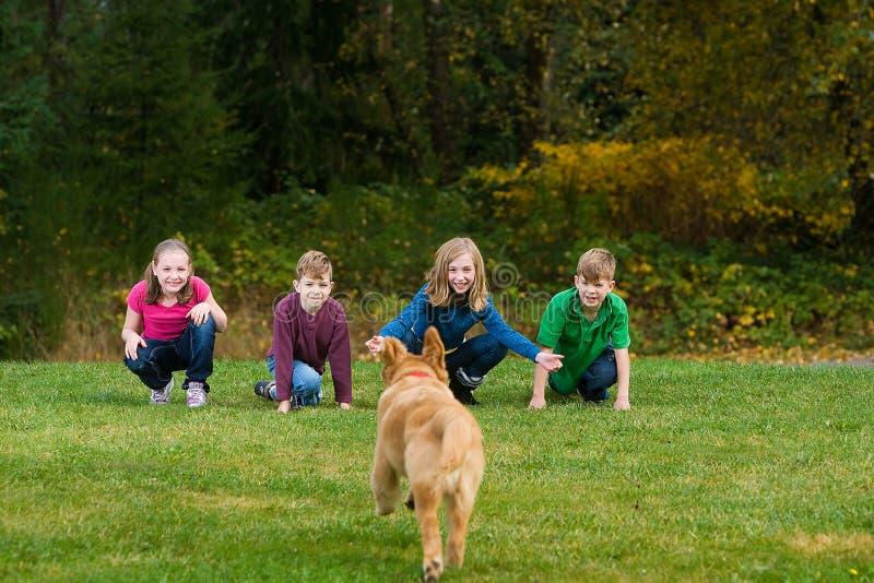 Een groep jonge geitjes die hun hond roepen aan hen. royalty-vrije stock afbeeldingen