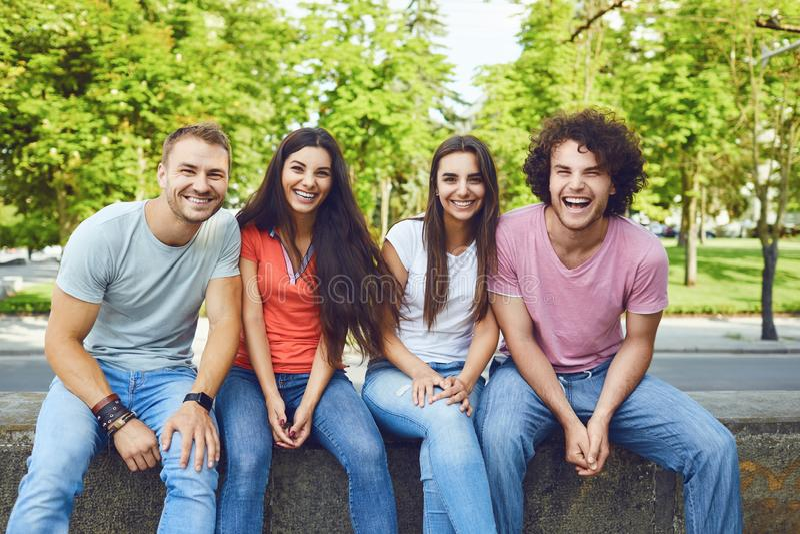 Een groep jonge gelukkige mensen is het lachen zitting in een park royalty-vrije stock foto's