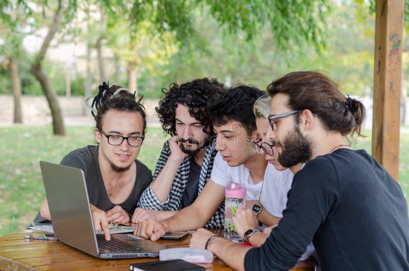 Een groep jonge laptops die in het park werken stock foto's