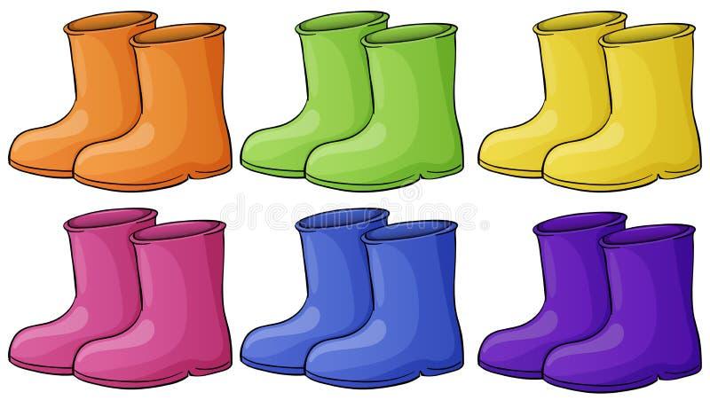 Een groep kleurrijke laarzen vector illustratie