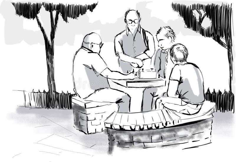 Een groep mensen die schaak spelen royalty-vrije stock afbeelding