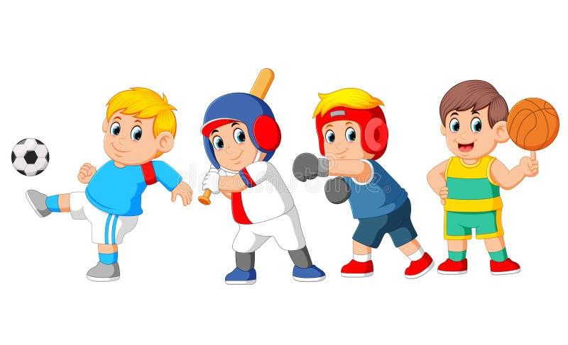 Een groep professionele sporten met verschillend soort sport royalty-vrije illustratie