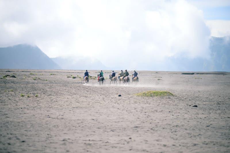 Een groep ruiters op horseback in de woestijn tegen backgro stock foto