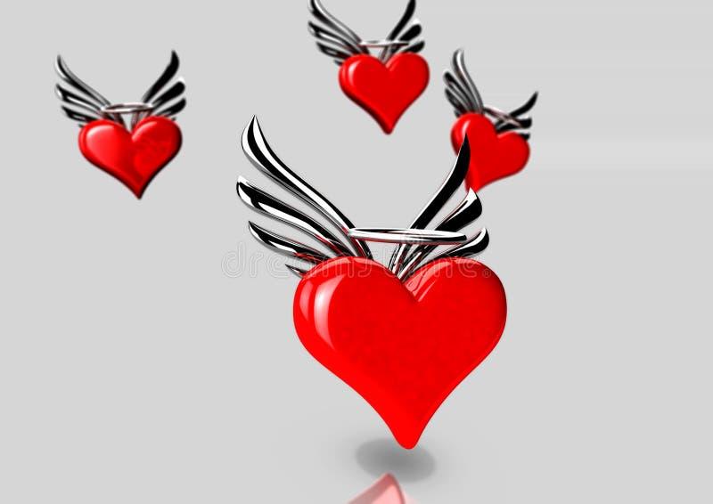 Een groep vliegende harten stock afbeeldingen