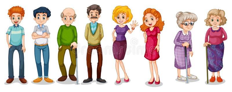 Een groep volwassenen stock illustratie