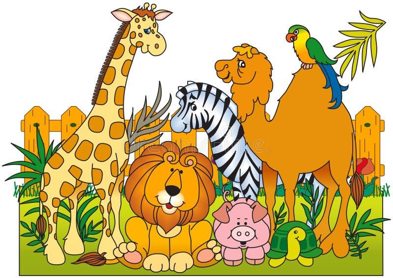 Een groep wilde dieren stock illustratie