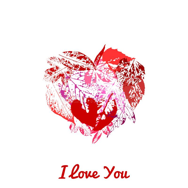 Een groetkaart met een rood die hart van bladdrukken wordt gemaakt stock illustratie