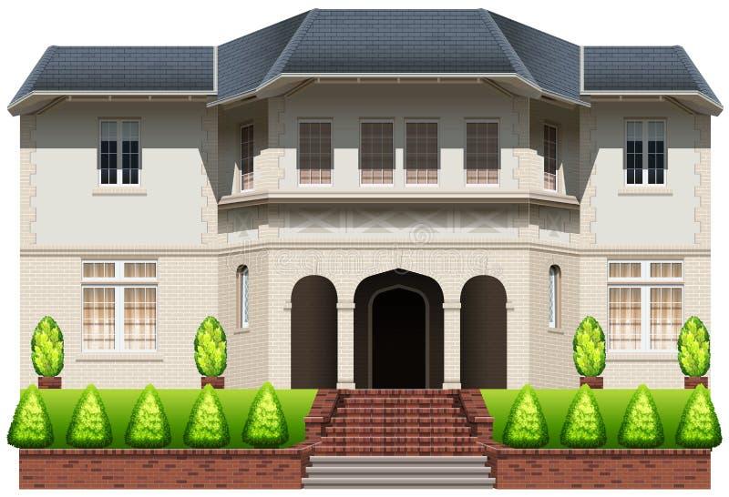 Een groot huis met installaties stock illustratie
