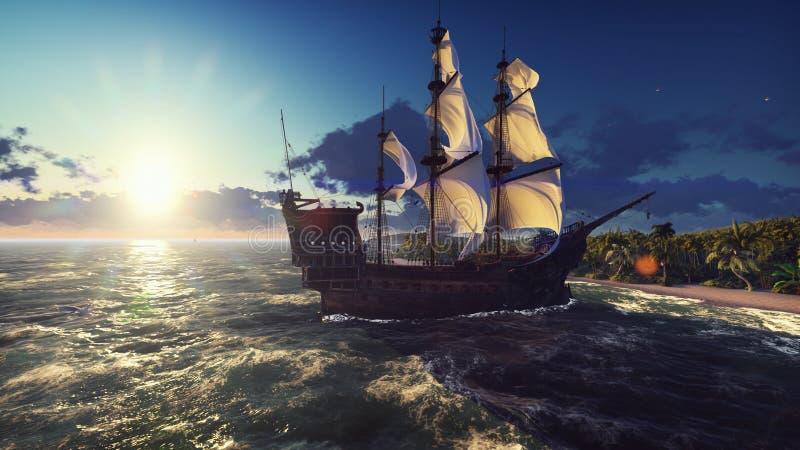 Een groot middeleeuws schip in de oceaan bij zonsondergang Een oud middeleeuws die schip dichtbij een verlaten tropisch eiland wo vector illustratie