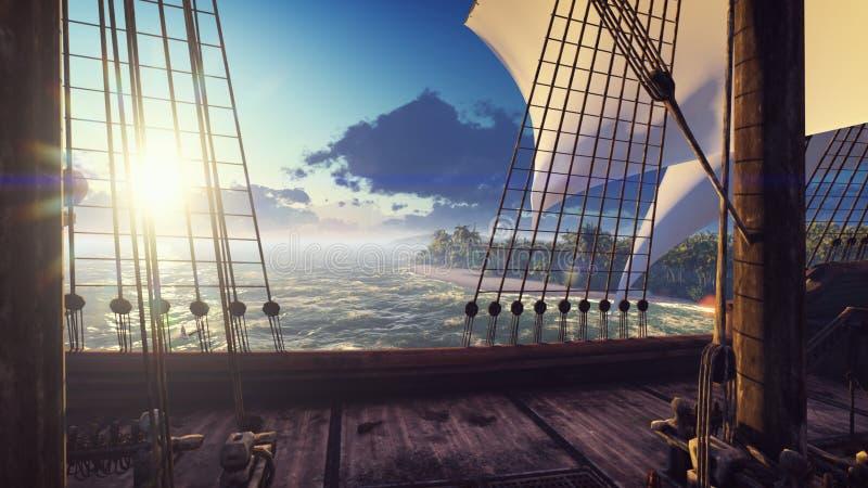 Een groot middeleeuws schip in de oceaan bij zonsondergang Een oud middeleeuws die schip dichtbij een verlaten tropisch eiland wo stock foto's