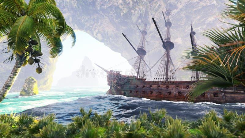 Een groot middeleeuws schip op zee op een Zonnige dag dichtbij oude rotsen Een oud verlaten middeleeuws schip vond zijn huis op a stock illustratie