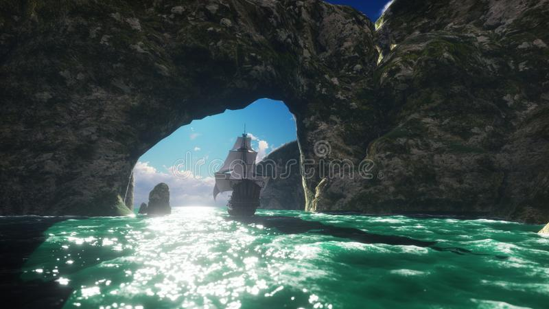 Een groot middeleeuws schip op een Zonnige dagzeilen van een verlaten rotsachtig eiland het 3d teruggeven royalty-vrije stock fotografie