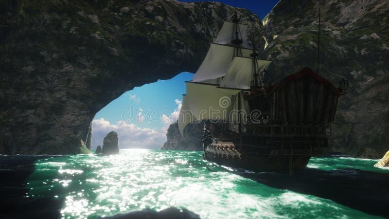 Een groot middeleeuws schip op een Zonnige dagzeilen van een verlaten rotsachtig eiland het 3d teruggeven vector illustratie