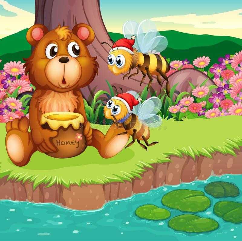 Een grote beer en bijen bij riverbank vector illustratie