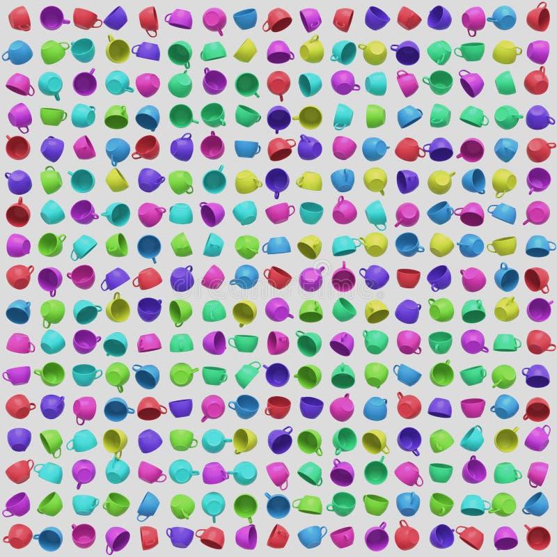 Een Grote Bevolen Serie van helder Gekleurde Koffiekoppen vector illustratie
