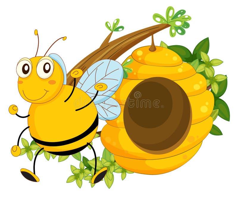 Een grote bij dichtbij de bijenkorf stock illustratie