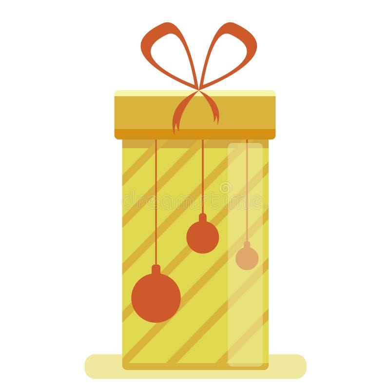 Een grote gele die doos van de Nieuwjaar` s gift met een lint, op een witte achtergrond wordt geïsoleerd Vector illustratie vector illustratie