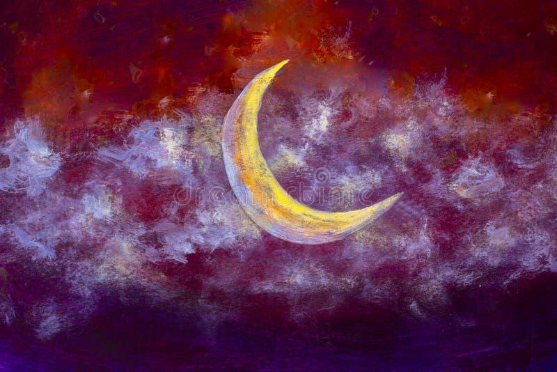 Een grote gloeiende luna maandmaan in de nacht betrekt op document achtergrond stock illustratie