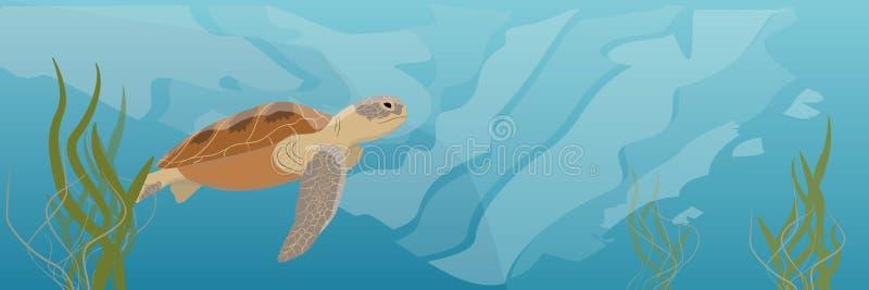 Een grote groene zeeschildpadsoep zwemt onder water zeewier royalty-vrije illustratie