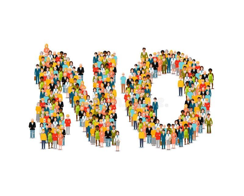Een grote groep mensen in vorm van GEEN woord op wit vector illustratie