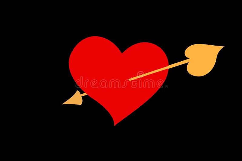 Een grote hart en een pijl op zwarte achtergrond stock illustratie