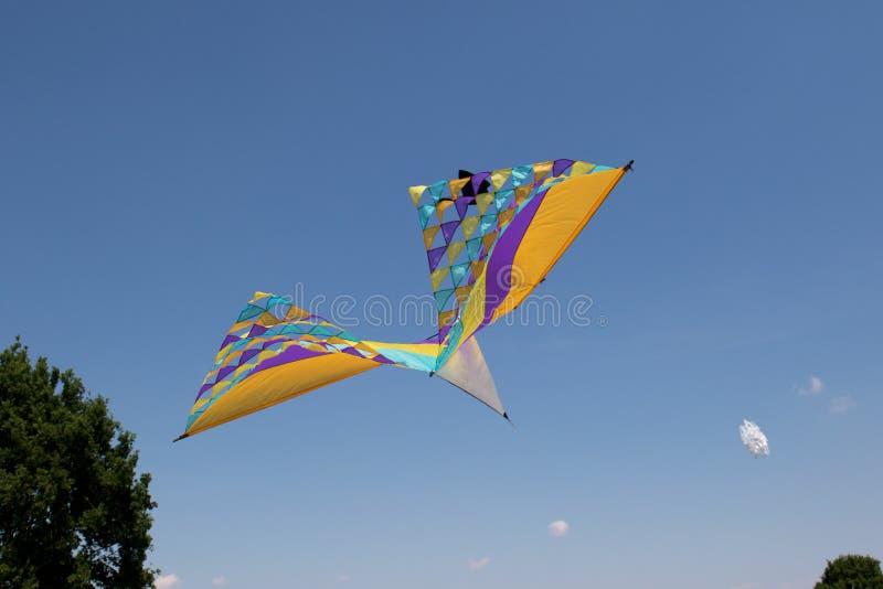 Een grote kleurrijke draakvlieger bij het vliegerfestival bij het opslagoverzees geeste Duitsland stock afbeelding