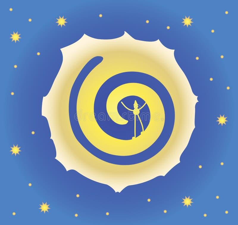 Een grote maan in de nacht sterrige hemel Gele sterren, een donkerblauwe hemel Mens in de Maan Vector illustratie royalty-vrije illustratie