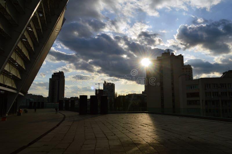 Een grote mierenhoop zonder mieren stadion stock fotografie
