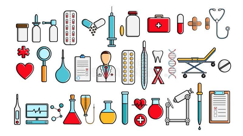 Een grote mooie reeks medische punten en hulpmiddelen van een apotheek of een spreekkamer, de flessen van de spuitenflessen van t stock illustratie