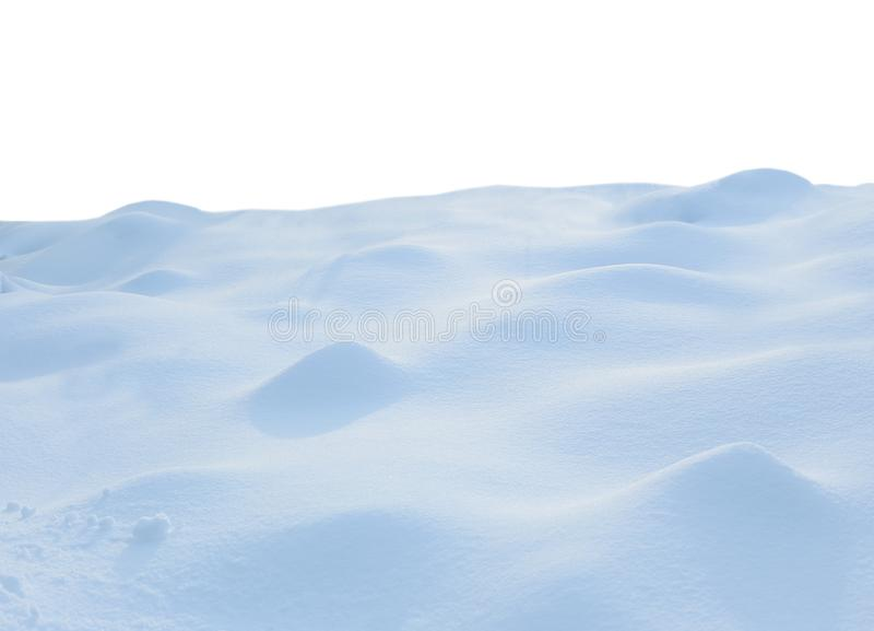 Een grote, mooie sneeuwdrift, geïsoleerd op witte achtergrond stock fotografie