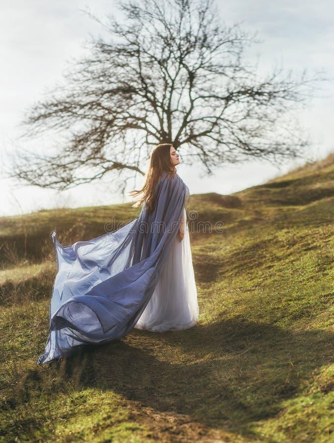 Een grote, mooie vrouw in een blauwe regenjas stock foto's