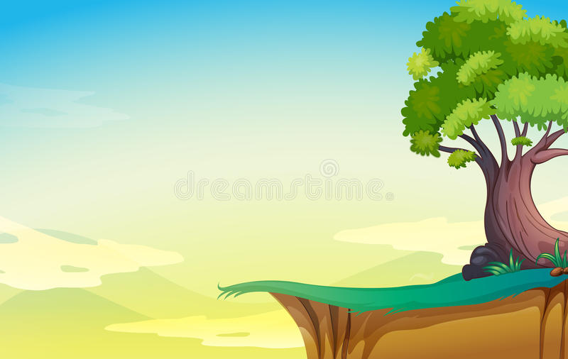Een grote oude boom dichtbij de klip stock illustratie