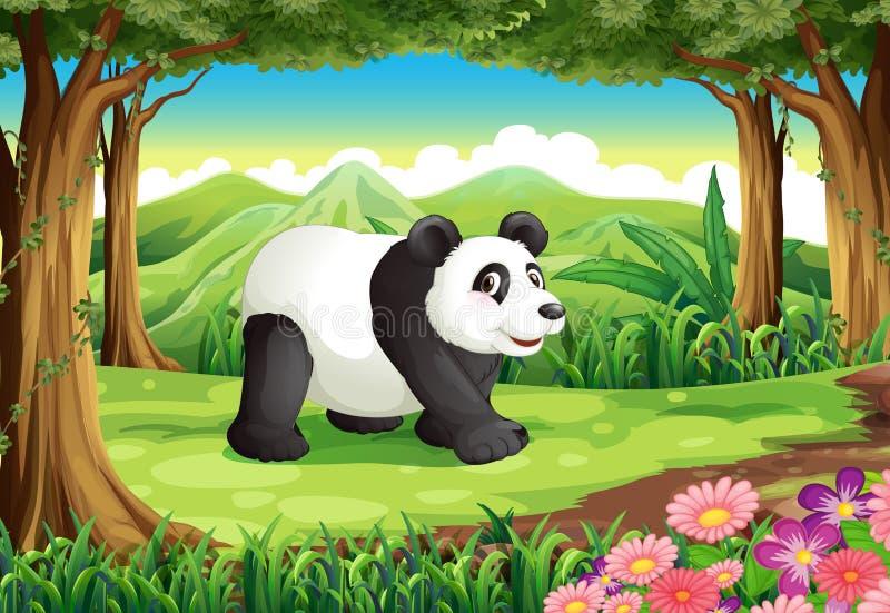 Een grote panda draagt bij het bos royalty-vrije illustratie