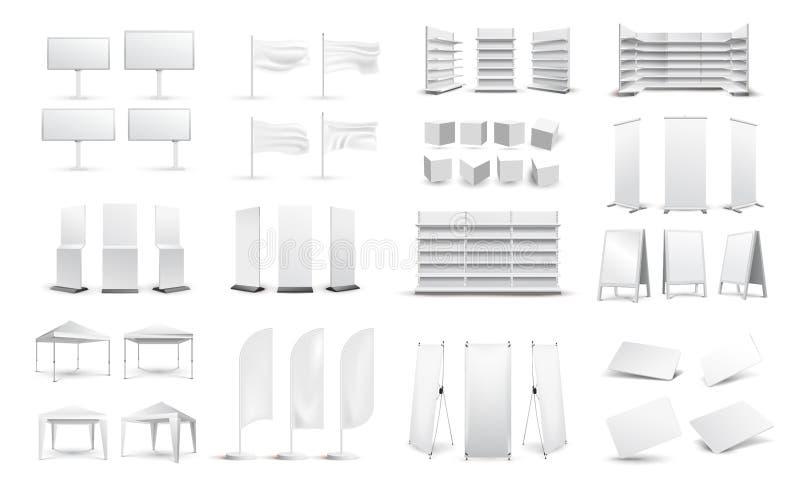 Een grote reeks lege promotiemedia Aanplakborden, adreskaartjes, tenten, tribunes, witte lege opslagplanken Grafisch concept voor stock illustratie