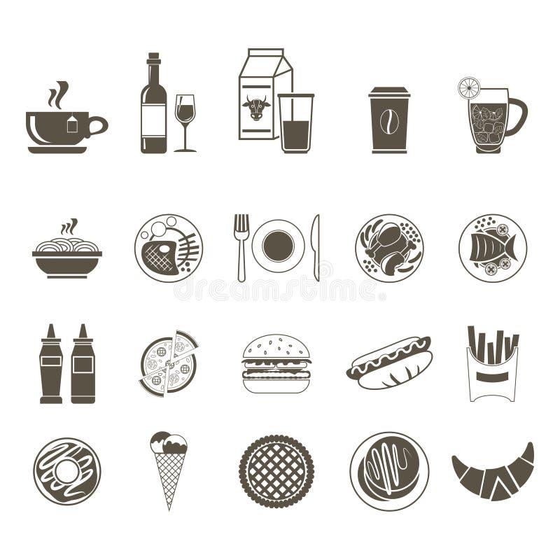 Een grote reeks pictogrammen van verschillende voedsel en dranken stock illustratie