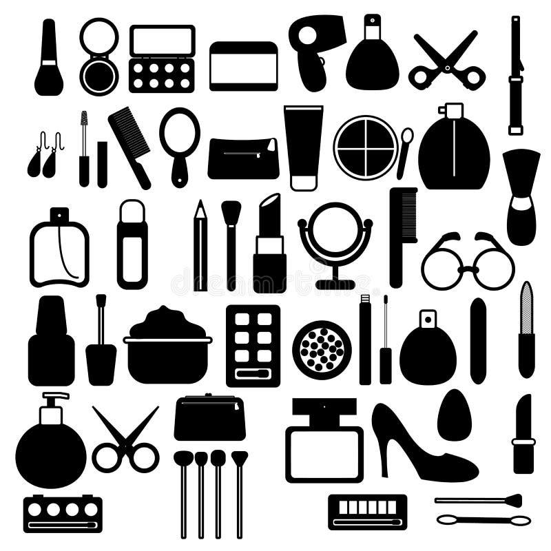 Een grote reeks zwart-witte pictogrammen van eenvoudige lineaire modieuze betoverende mooie middelen voor make-up, huidzorg, kosm royalty-vrije illustratie