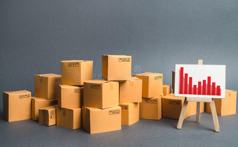 Een grote stapel van kartonvakjes en een tribune met informatiegrafiek Stijgende verbruikersvraag, de uitvoer of de invoer de tar royalty-vrije stock foto