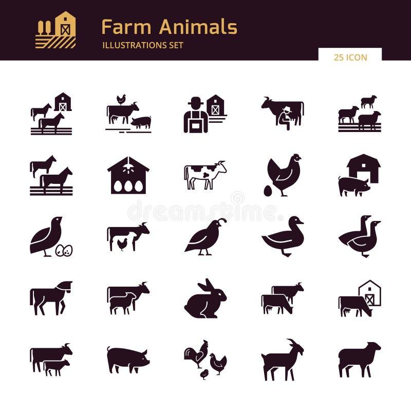 Een grote vectorreeks van 25 bewerkt en landbouwbedrijf dierlijke pictogrammen die voor illustraties groot zijn stock illustratie