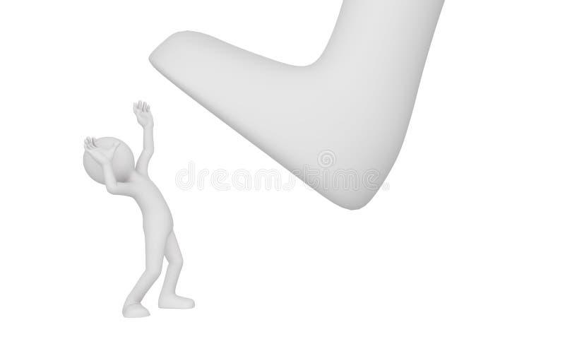 Een grote voetstap op een mens royalty-vrije illustratie