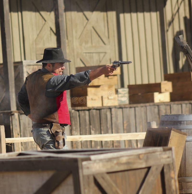 Een Gunfight in Oud Tucson, Tucson, Arizona royalty-vrije stock foto