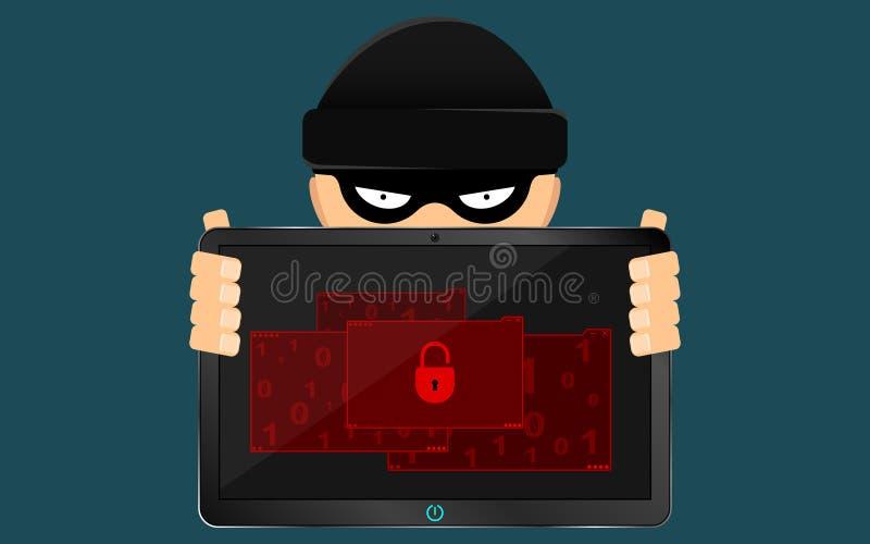 Een hakker en een boefje houden een gebroken tablet in hun handen Een ernstig probleem, het verlies van gegevens Vlakke stijl Vel vector illustratie