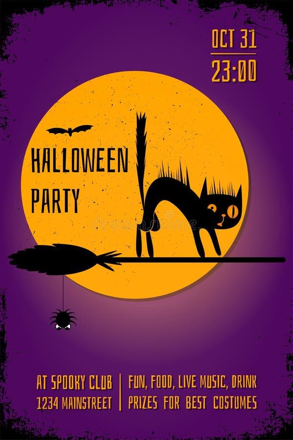 Een Halloween-partijbanner met een zwarte kat op heksenbezem op purpere achtergrond Het ontwerpmalplaatje van de Editableaffiche vector illustratie