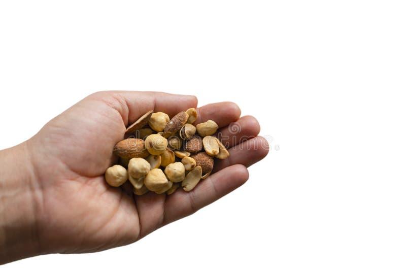 Een hand die een grote verscheidenheid van noten en zaden met geïsoleerde witte achtergronden houden royalty-vrije stock foto's